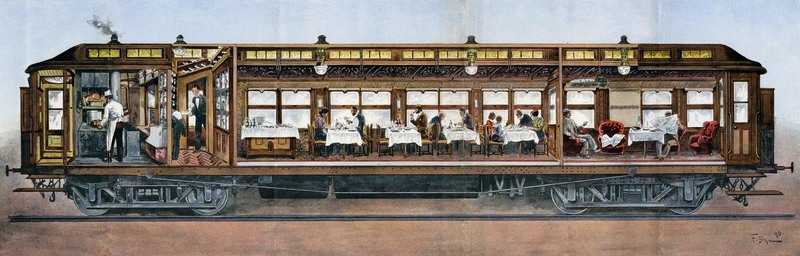 A cross section of an Orient Express dining car, 1896.