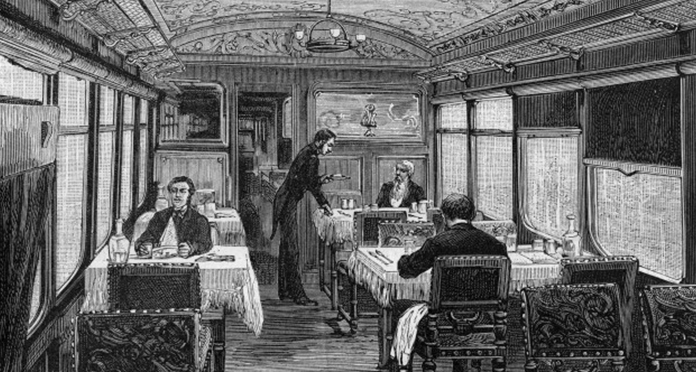 Dining car of the Orient Express in 1884