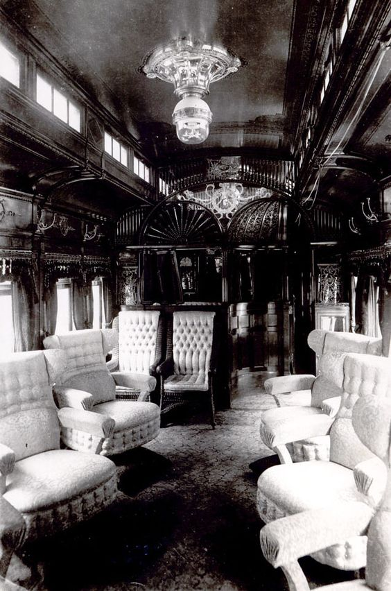 Inside the luxury Pullman parlor Car , early 1900s.