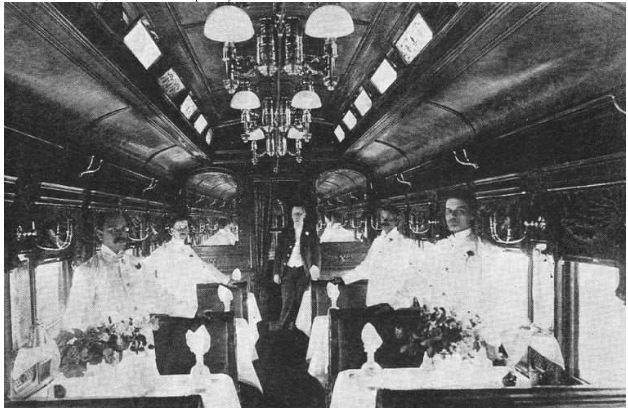 Dining car, 1895 Baltimore and Ohio RR publicity photo