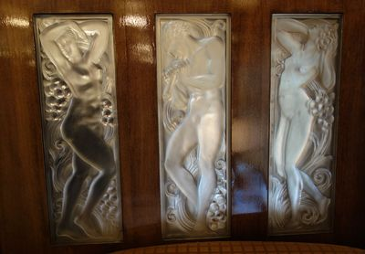 "Other amazing Lalique glass panels on the train walls, ""Once upon a time the Orient Express"", Paris, 2014"