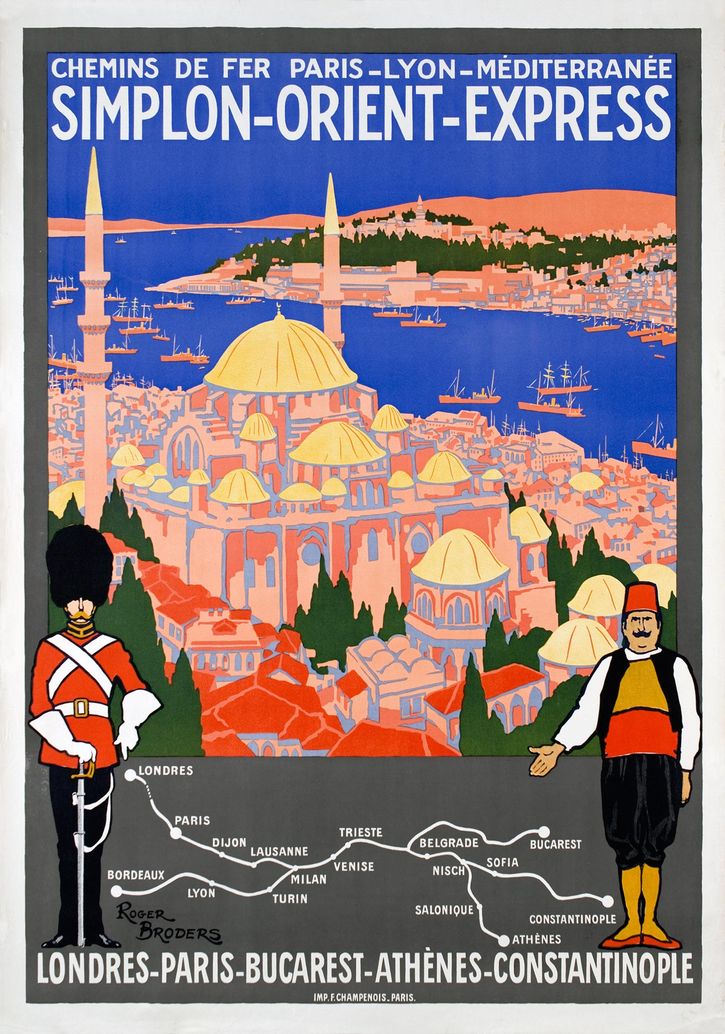 Art Déco style poster of the Simplon Orient Express by llustrator Roger Broders, 1921