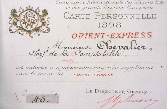 Ticket for the Orient Express, 1898