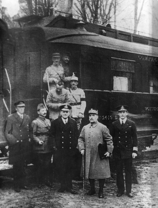 The wagon of the Armistice: the Allied and Germany representatives at the signing of the armistice. Outside the railway carriage n. 2419 D in the forest of Campiègne. November, 11 1918.