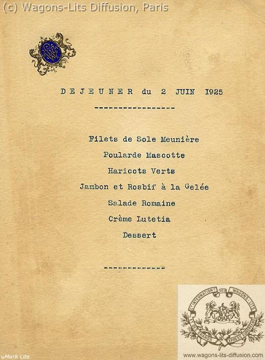 Lunch menu, CIWL archive, 1925