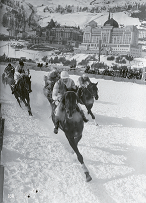 Horse racing on the frozen lake, ca. 1930