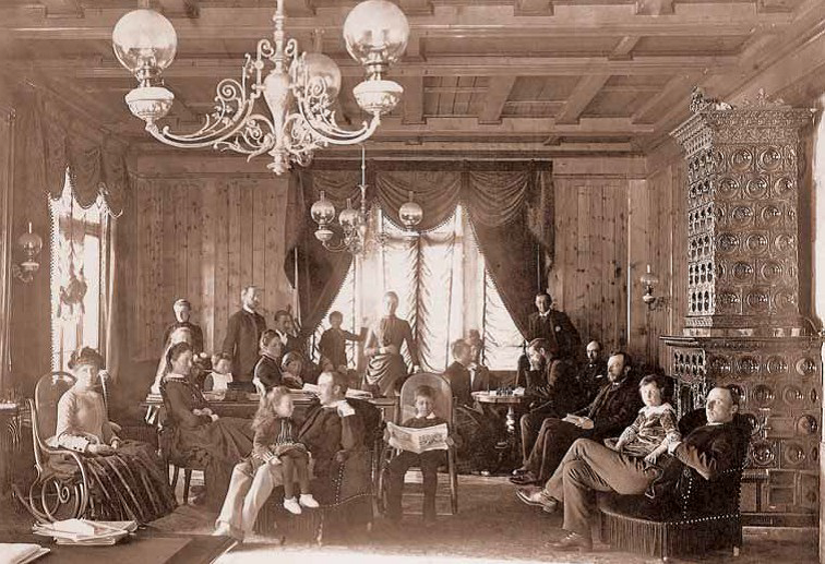 Reading room at Kulm Hotel, ca. 1890