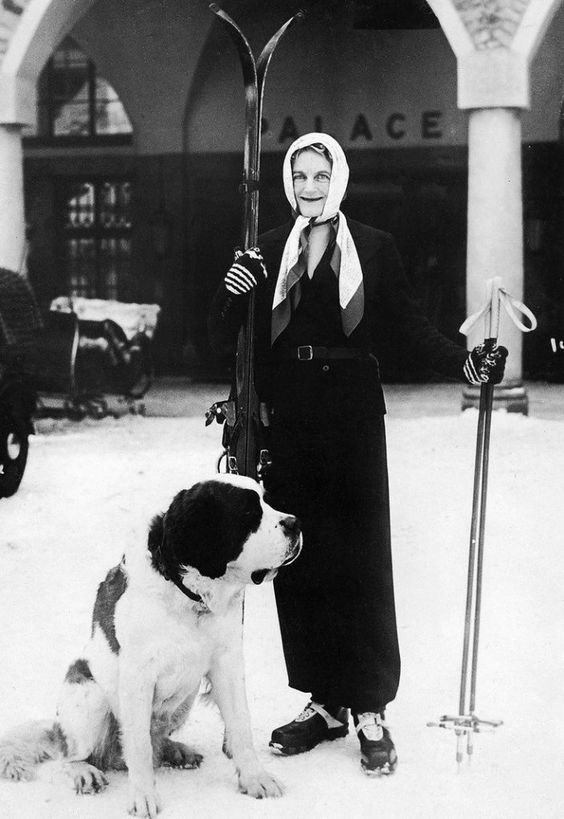 Clementine Churchill during her winter holidays in St. Moritz, 1937