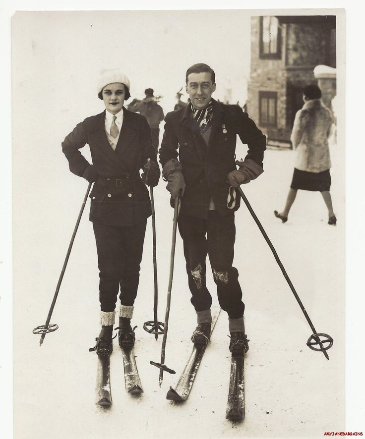 Ethel Margaret Whigham (Duchess of Argyll) skiing at St. Moritz, 1920s