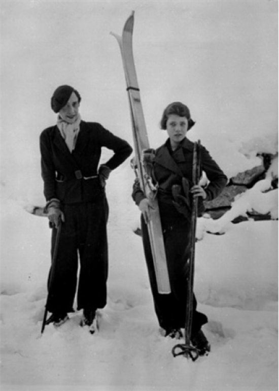 Italian fashion designer   Elsa Schiaparelli   with Her Daughter Gogo in St. Moritz, 1934