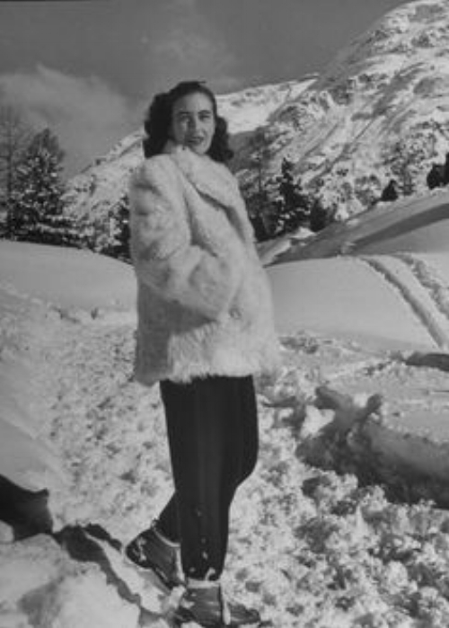 Spanish Marquesa Christine d'Albuquerke vacationing at fashionable winter resort in St. Moritz, 1947
