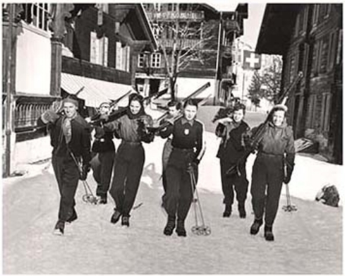 US Skier Andy Mead in St. Moritz with the Olympic Team, 1948