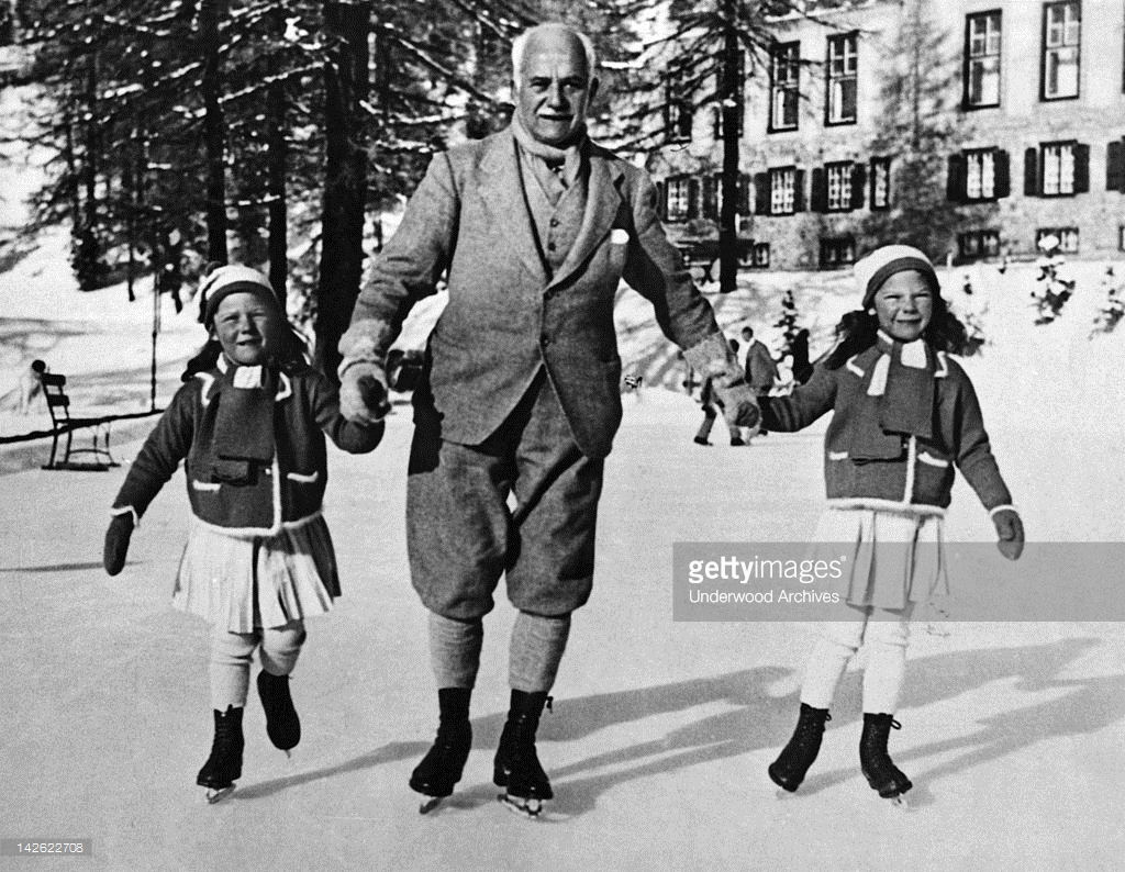 Sir Henry Deterding, chairman of the Royal Dutch Petroleum Company, skating wih his children in St. Moritz, 1930s.