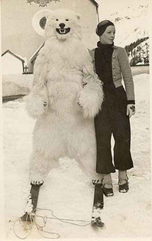 Bettina Bergery, sporting an   Elsa Schiaparelli   ski ensemble in Saint Moritz in the early 1930s