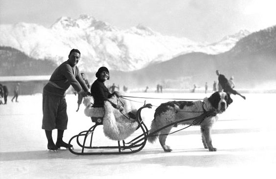 An English couple have fun in St Moritz in 1930, when the location was a magnet for the British high society