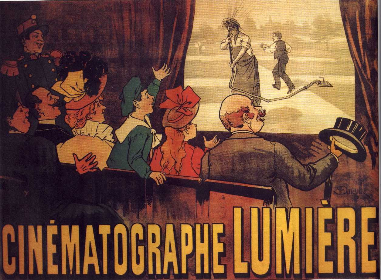 "Another amazing invention: the ""Cinématographe"" by Lumière brothers.  This is the world's first movie poster, for comedy ""L'Arroseur Arrosé"", 1895."
