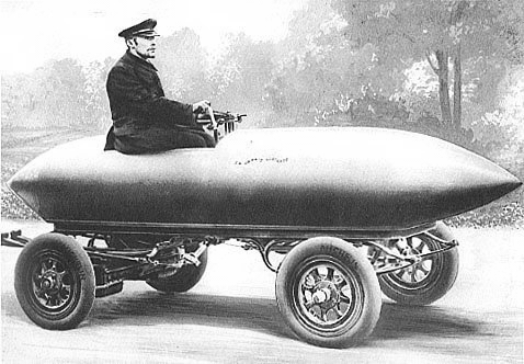 "Illustration of ""La Jamais Contente"", first automobile to reach 100 km/h in 1899."