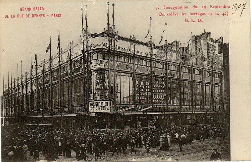 "The building up of the first shopping malls is a proof of the sociological changes that took place during this time and the birth of the consumer society. Paris had a leading role in the construction of the shopping centers.  The print above depicts ""Le Grand Bazar"" in Paris, built by Henry Gutton between 1906 and 1907"