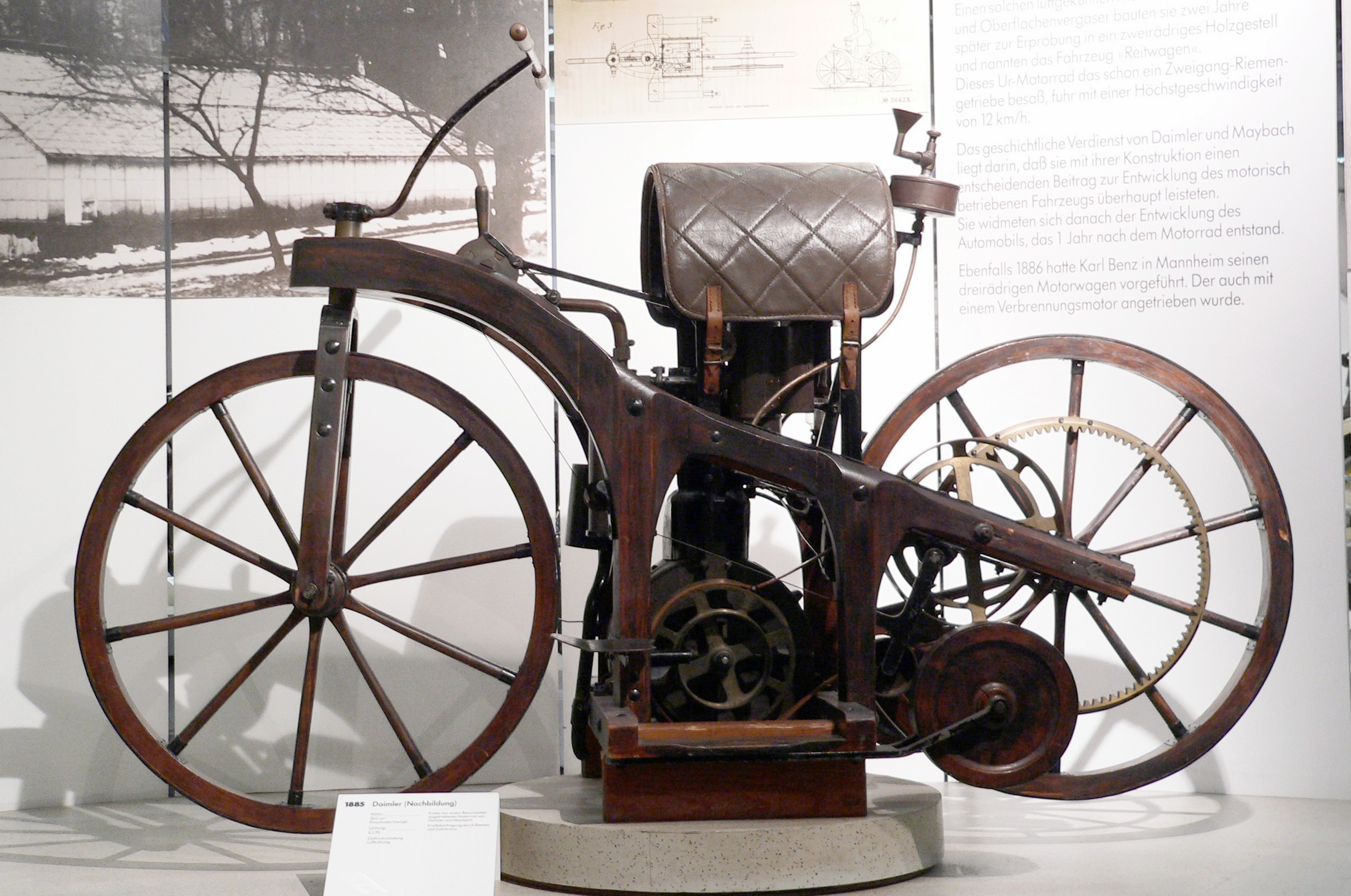 The  Reitwagen  (riding car), the first internal combustion motorcycle invented by Gottlieb Daimler and Wilhelm Maybach, 1885