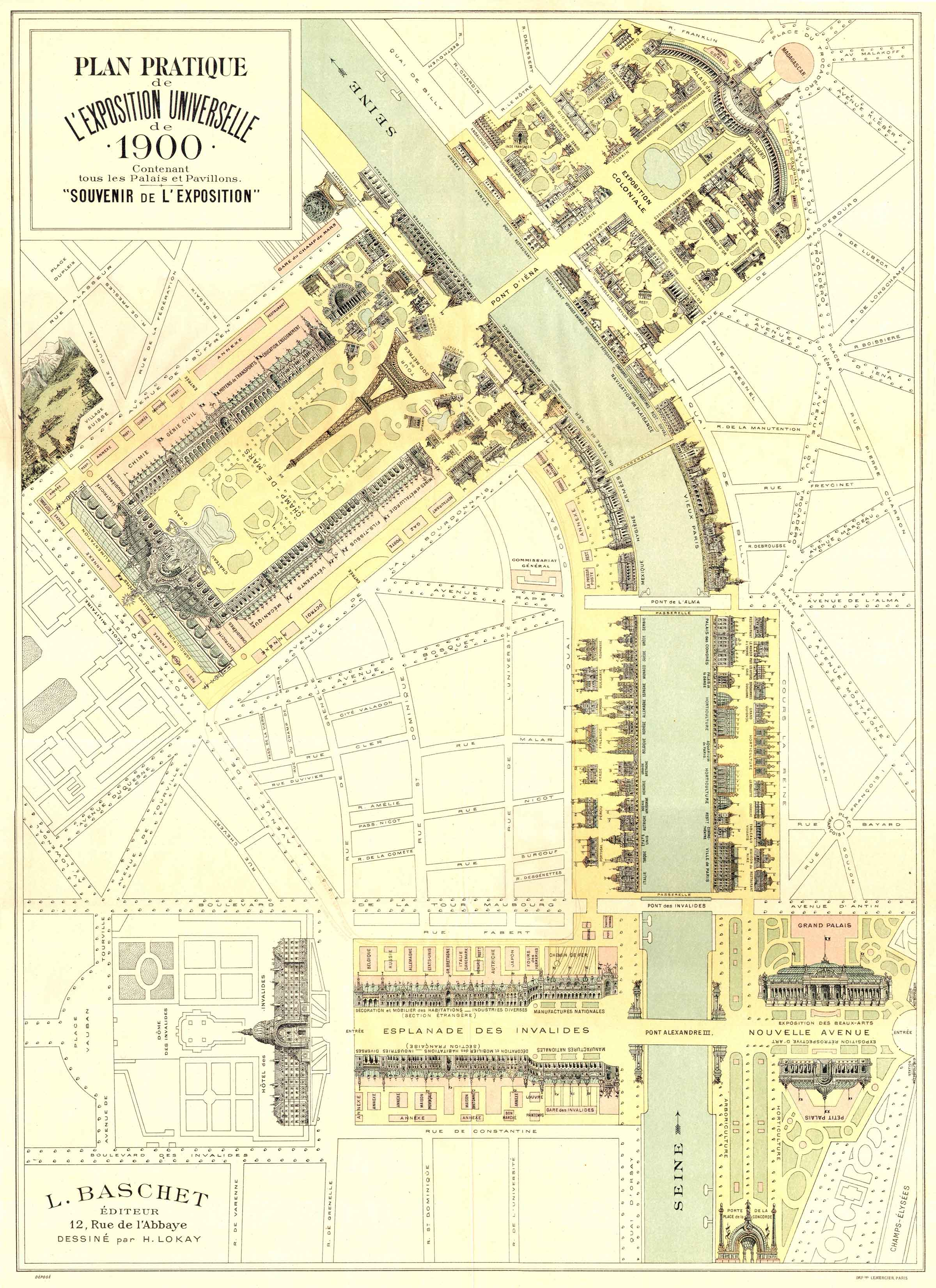 The map of the Paris world fair's buildings, 1900