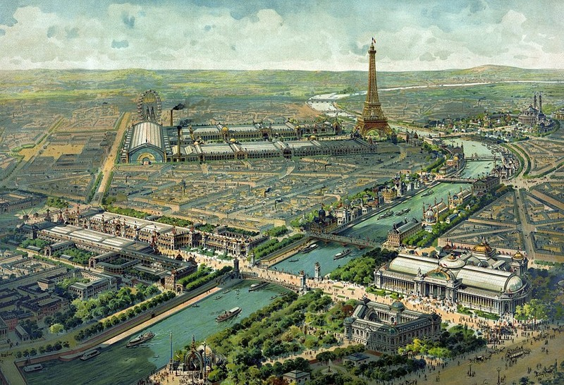 Illustrated panorama of the 1900 Paris Exposition by Lucien Baylac