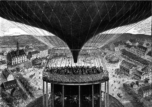 The Cinéorama was the first attempt to synchronize phonograph recordings with the newly-developed moving pictures.  This method simulated a balloon journey: in a polygonal rotunda of 93 meters of circumference, 10 synchronized cinematographic devices projected a film showing amazing landscapes. Spectators stood in a hot air balloon replica in the center of a room.