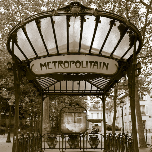 Art Nouveau style Paris metro entrance designed by Fulgence Bienvenüe. The inauguration took place on July 14th, 1900