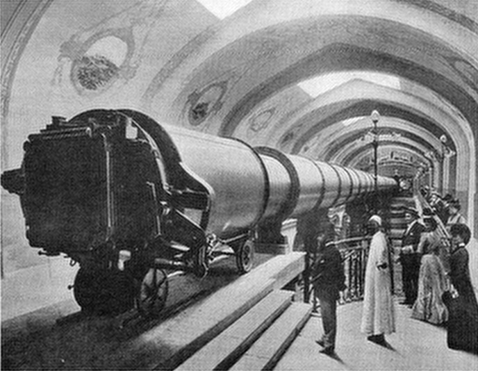 "This is the Great Paris Exhibition Telescope of 1900, with an objective lens of 1.25 m in diameter. It was the largest refracting telescope ever constructed and  displayed at the "" Palais de l'Optique "" . 60 meters long, it was built to let man see the moon upclose as it was 58 km far from the observer. Movie director Georges Méliès would take inspiration from this telescope for the making of his movie ""A Trip to the Mooon"" of 1902."