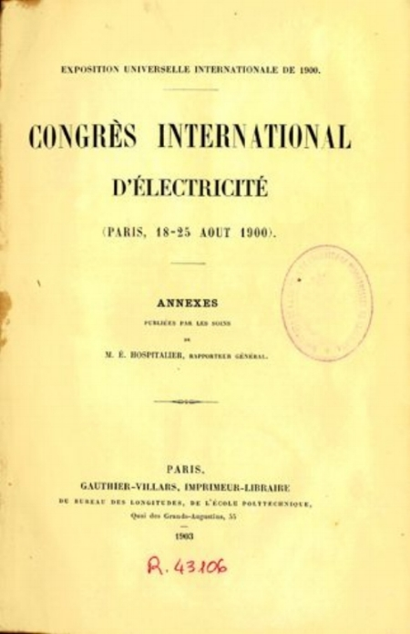 The booklet of the International Electricity Congress, 1900