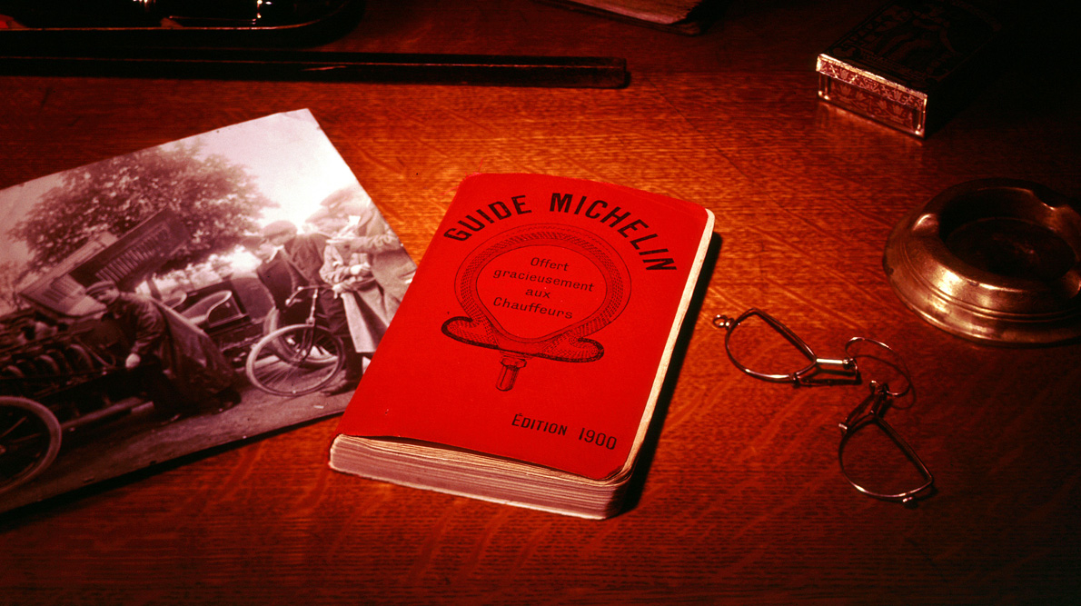 The first Michelin Guide was published in 1900. Here is an original copy of the time.  Picture by  www.michelin.com