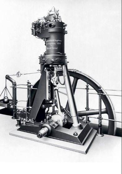 The first diesel engine created by Rudolf Diesel, powered by peanut oil. Internal combustion of petroleum was a known quantity in 1900, though its inventor was convinced that there had to be a more efficient way.