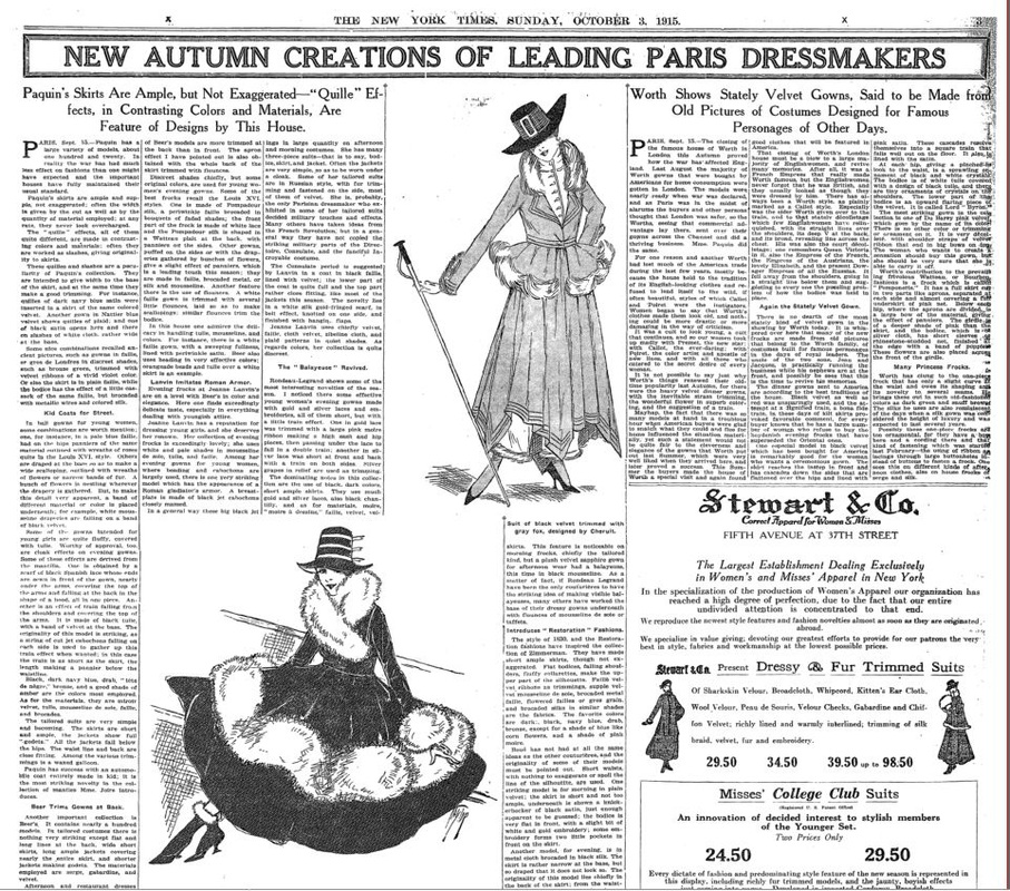 Advertisement of the House of Paquin on The New York Times , 1915