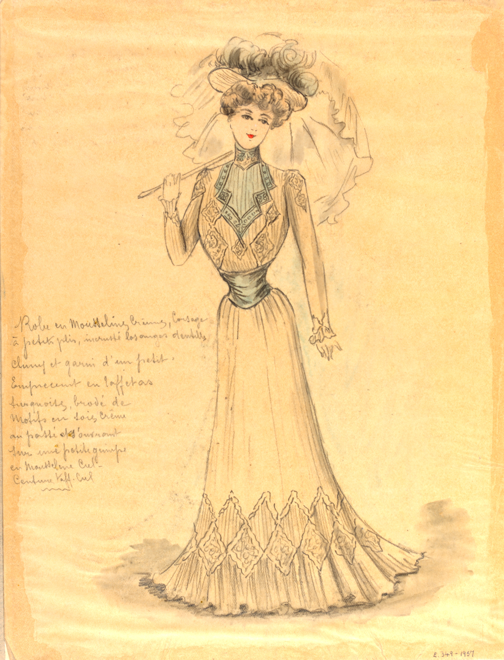 Jeanne Paquin, Day Dress, Sketch, 1900, Victoria and Albert Museum, London