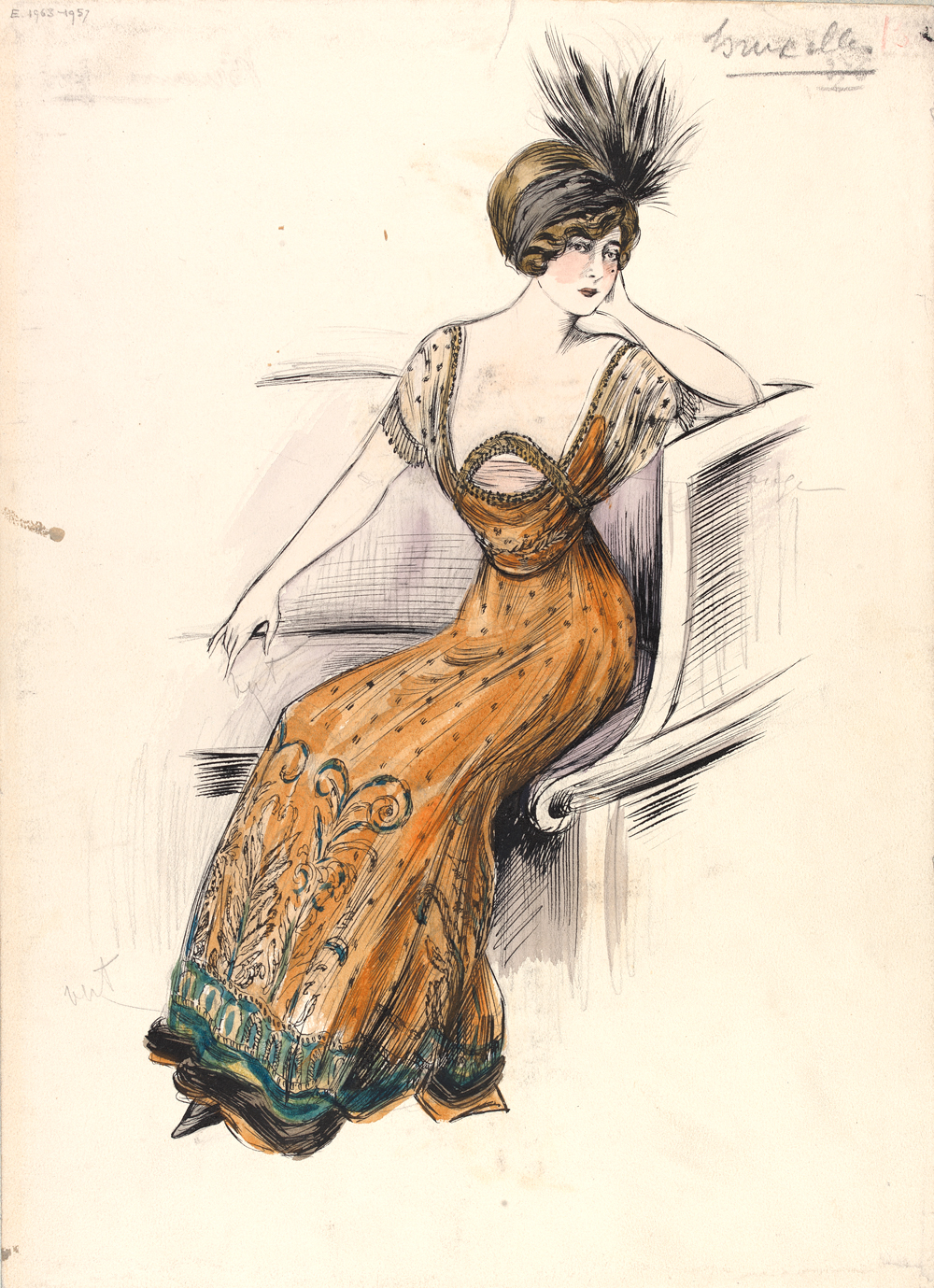Jeanne Paquin, Evening Dress, Sketch, 1910, Victoria and Albert Museum, London