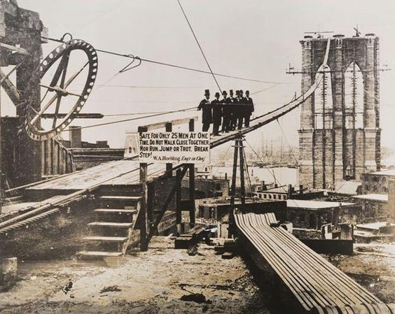 The building up of the Brooklyn Bridge, 1881. The works for the construction of the bridge began in 1867.