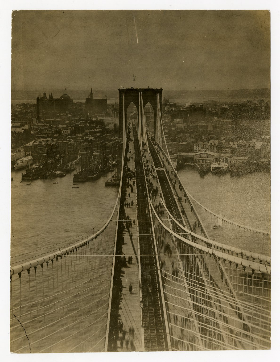 The Brooklyn Bridge was finally completed in 1883. Here is a picture of that year.