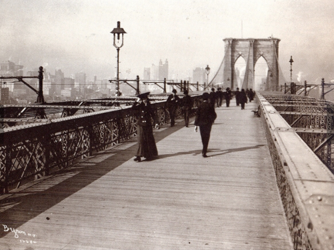 The Brooklyn Bridge Promenade looking toward Manhattan, 1903