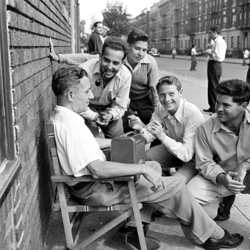 Listening to a Dodgers-Giants ballgame on the radio, Brooklyn, 1946