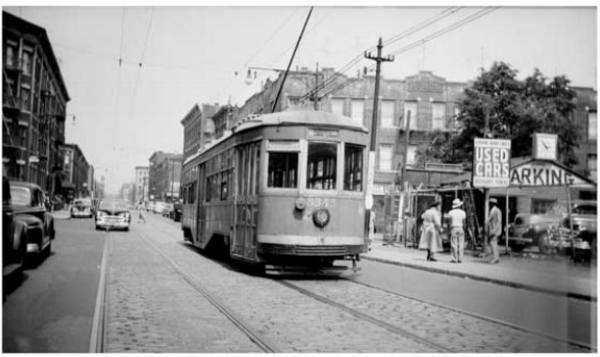 Brownsville trolley in Brooklyn, 1940s