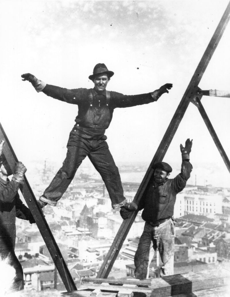 A man balancing on scaffolding, 150 ft over New Orleans, 1925