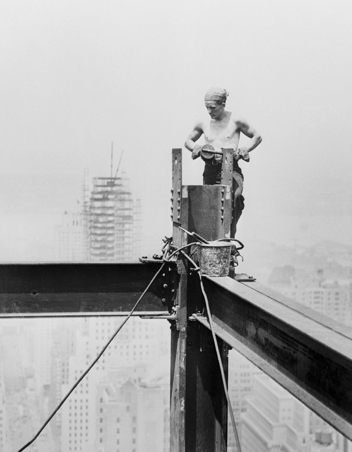 Defying death  at 1,284 feet into the air, New York, 1930