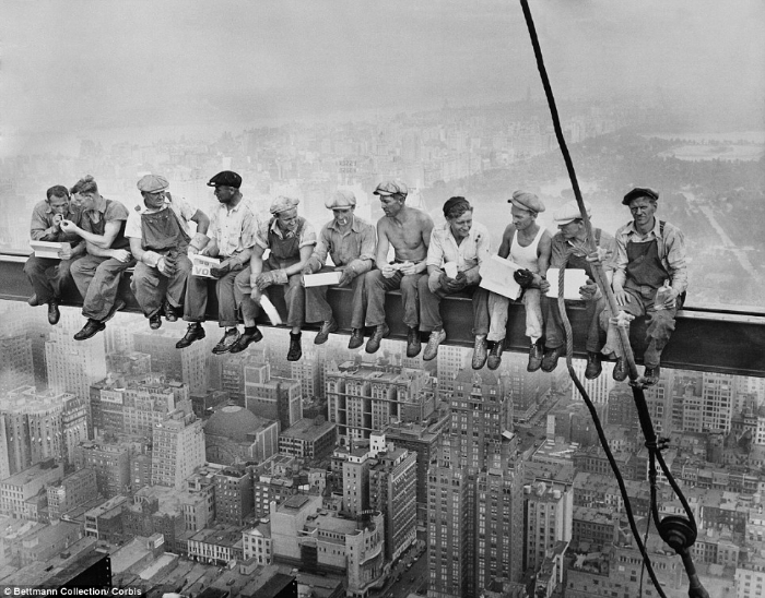 "The iconic ""Lunch atop a Skyscraper"" by Charles Clyde Ebbets, GE Building Rockefeller Center, 1932"