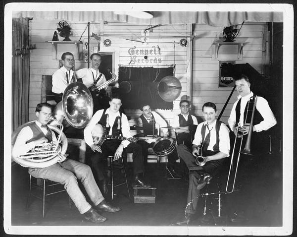 The Wolverine Orchestra, on their first record date, in the Gennett Records recording studio, Richmond, Indiana, February 18, 1924.