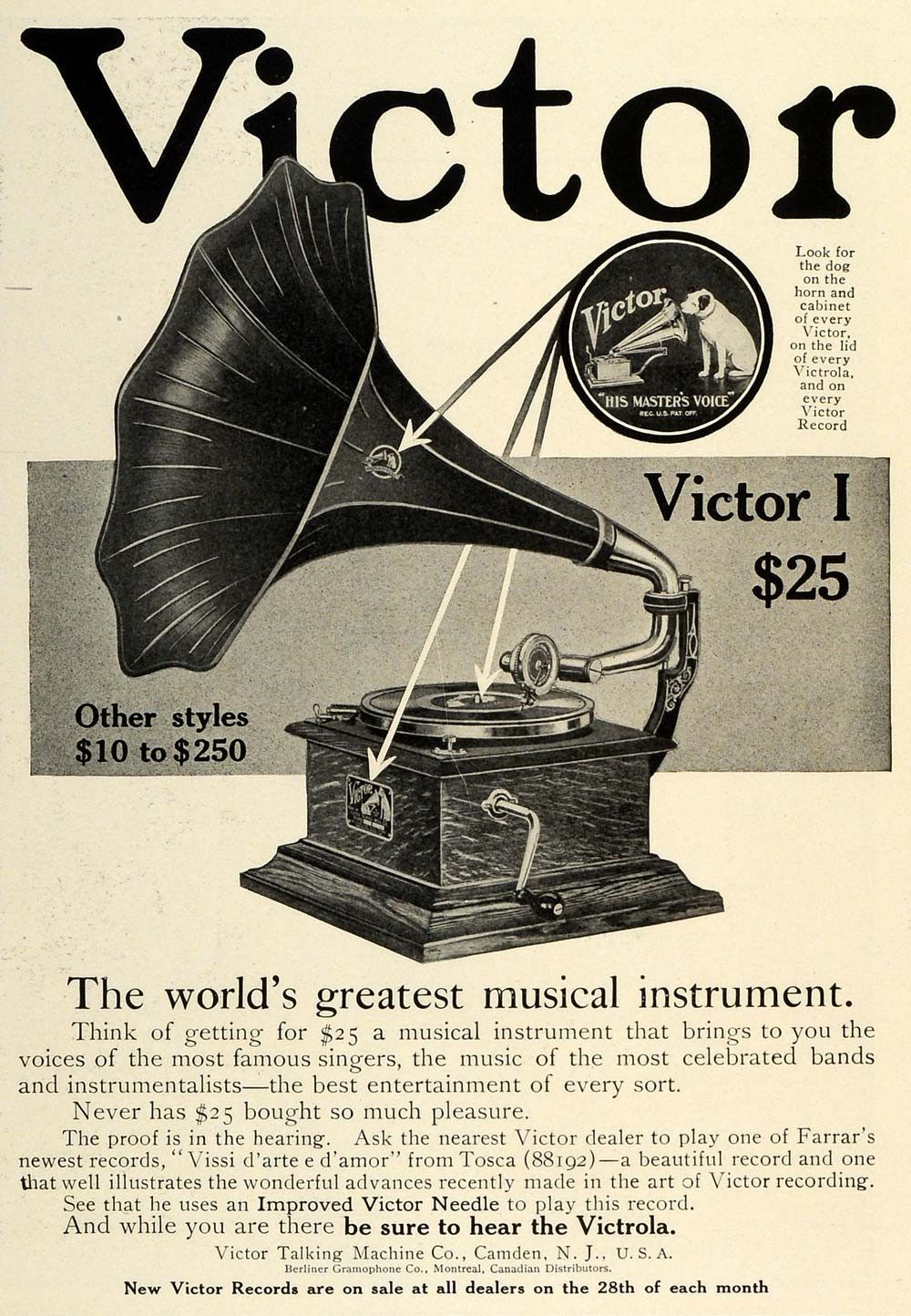 Victor gramophone advertising, early 1920s