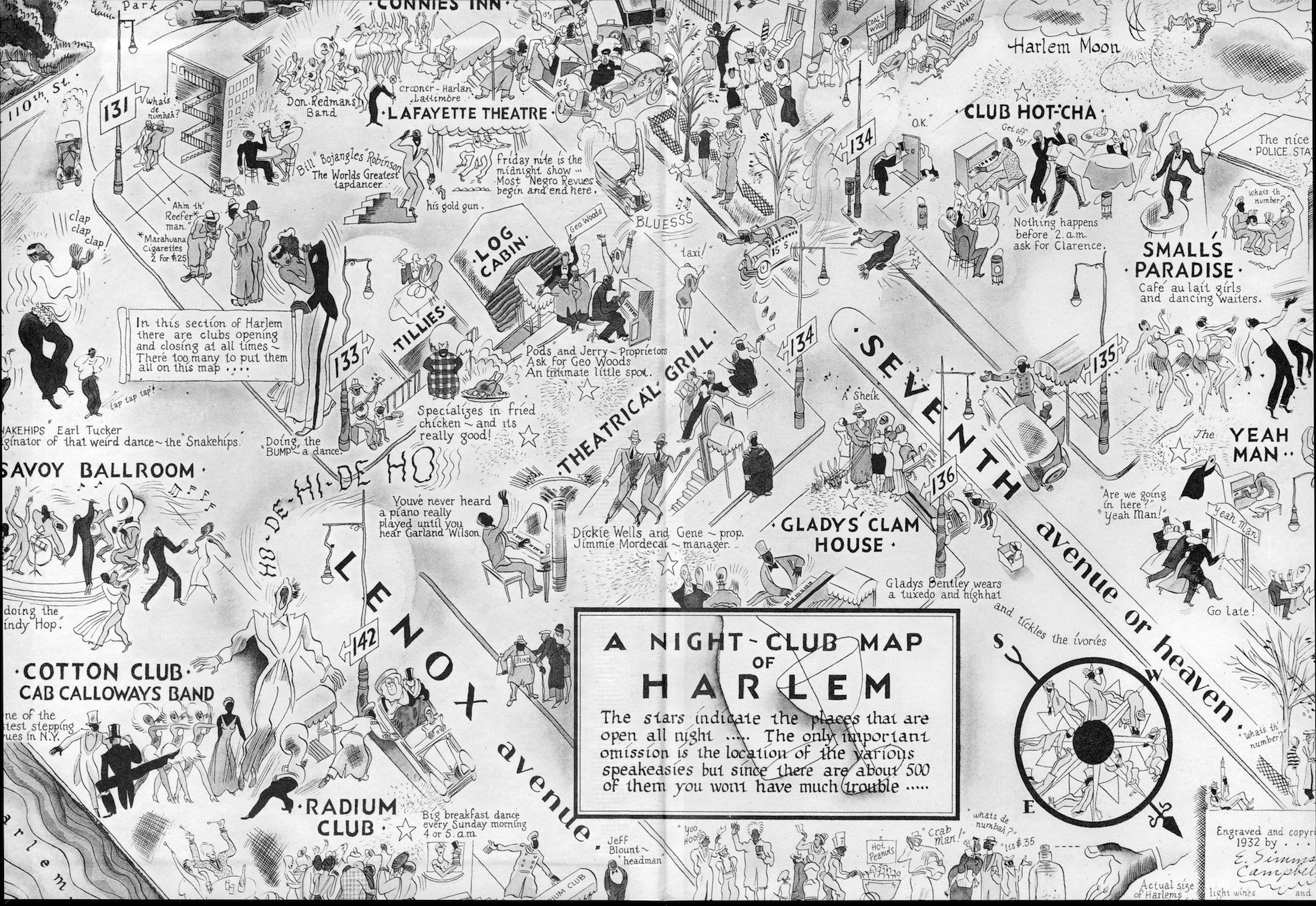 A map showing the night clubs scene in Harlem in 1932. Among them, of course, the Cotton Club with Cab Calloways Band as resident orchestra