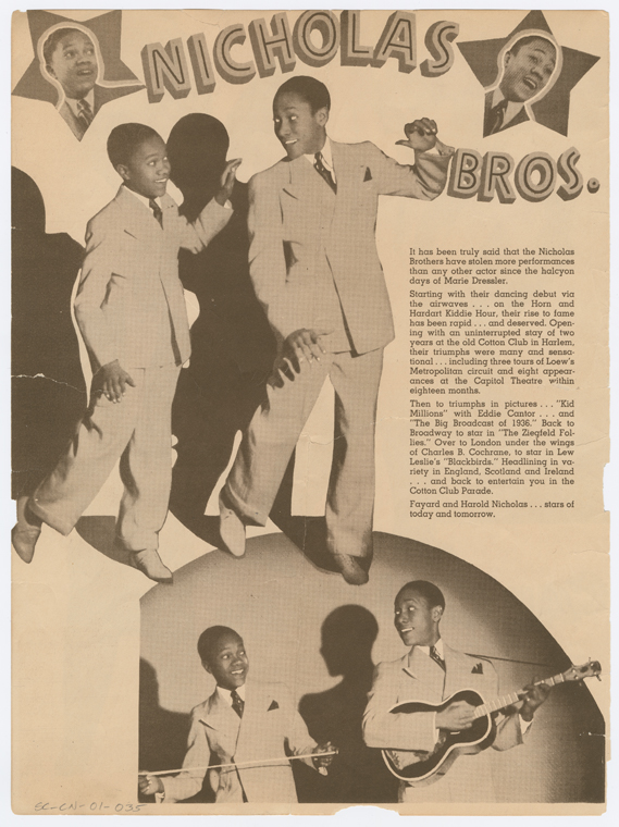 An advertisement for the Nicolas Brothers, for a performance in 1938 at the Broadway Cotton Club.