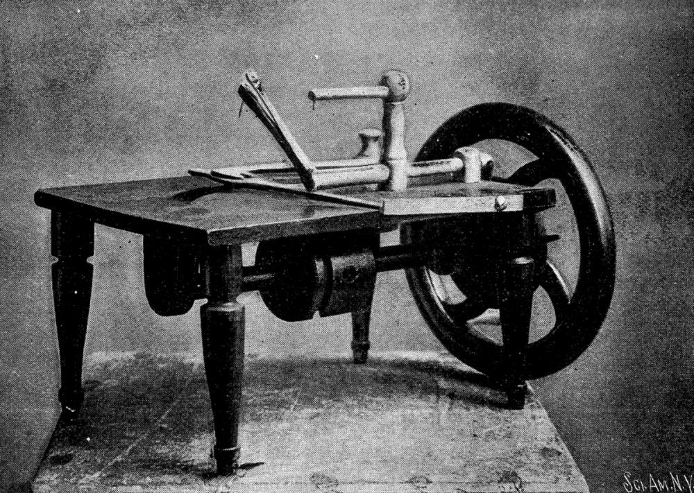 Wilson sewing machine earliest model filed in Patent Office November 12, 1850