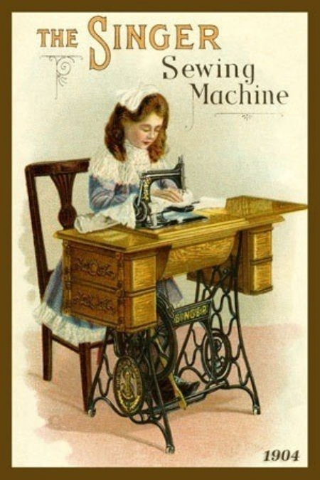 Singer sewing machine advertising, 1904. Look how beautiful and intricate was the cast-iron treadle and base of the sewing table.
