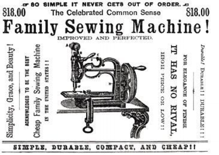Family sewing machine, 1860