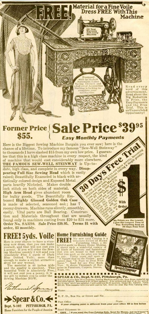 Sewing machine advertising, 1920s